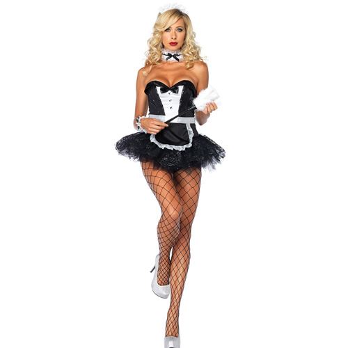 ML5351 Sexy Racy Black french maid Adult Costume Sexy little Maid costume