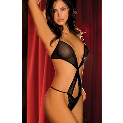 Rene Rofe Sparkle Mesh & Lace Twister Teddy