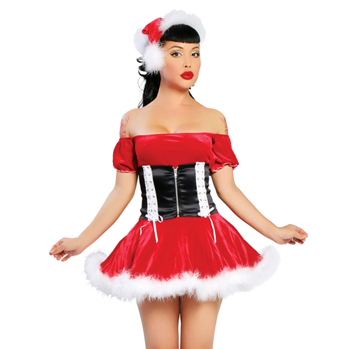 2013 wholesale fashion sexy Christmas Costumes with cap,corset skirt