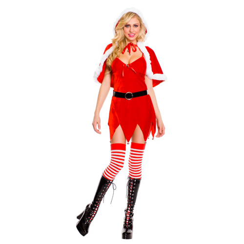 Fun Sexy Christmas Three Piece Jingle Baby Trim Cape Belt Santa Baby Dress