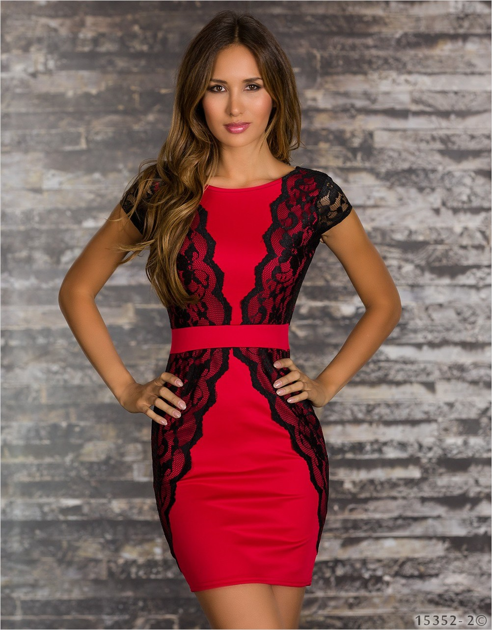 Red Polyester Dress with lace and belt