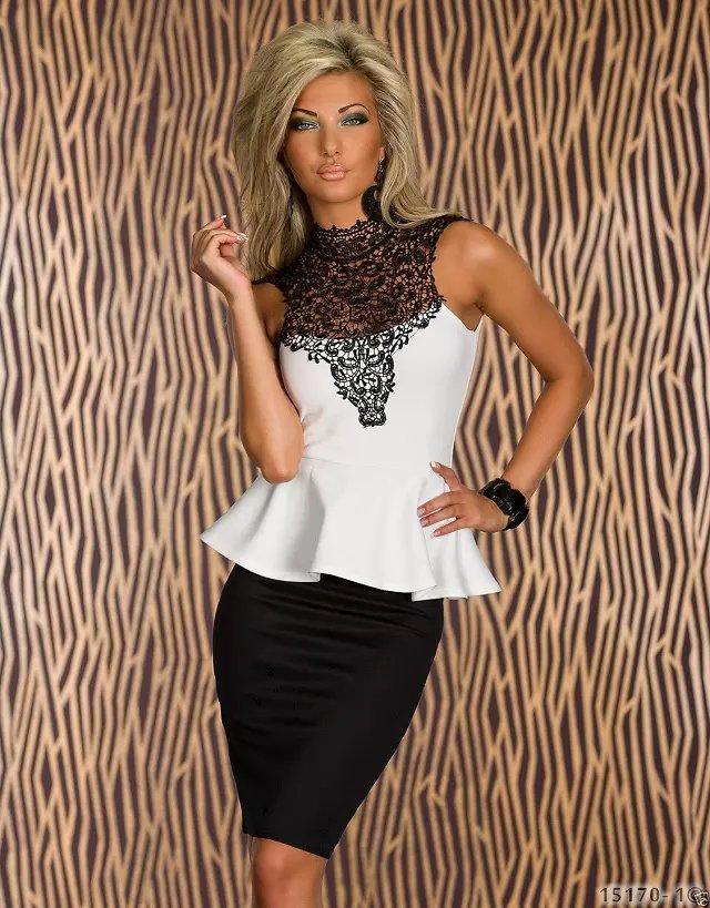 ML18077 Sexy Neckline and Backline Sleeveless Mini Office Dress