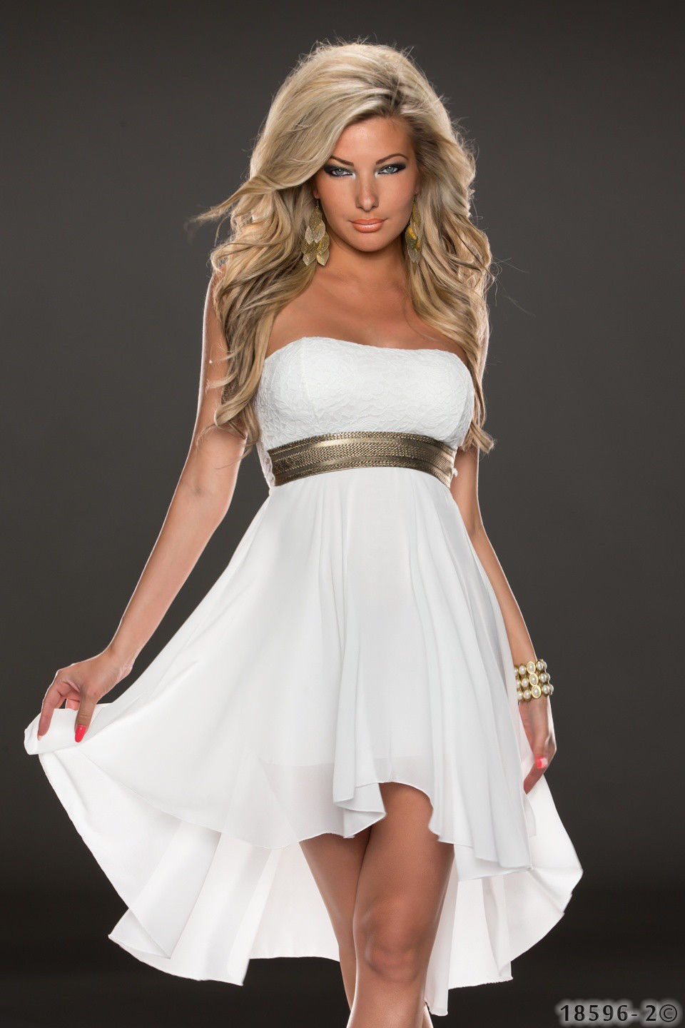 ML18066 Sexy Long Back Short Front High Waist Sleeveless Party Dress