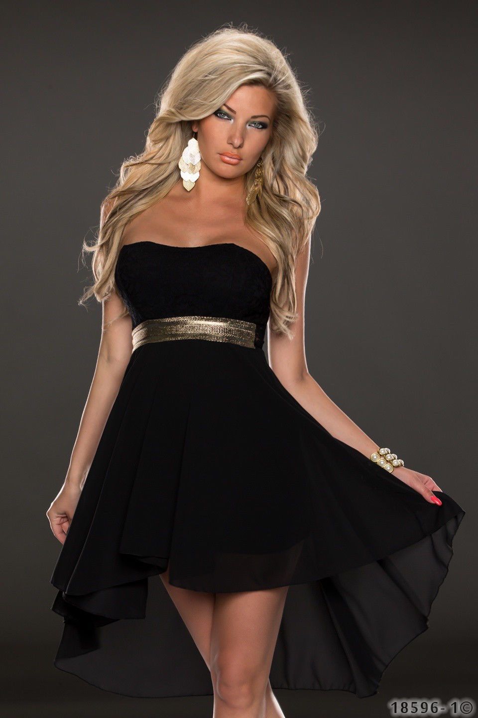 ML18068 High Waist Sleeveless Long Back Short Front Party Dress
