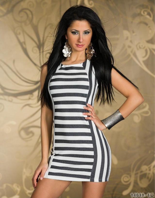 2014 ML18078 Black and white stripe Sleeveless dress