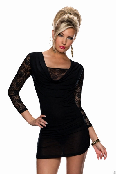 ML18210 Lace Long Sleeve Black Sexy Winter Dress