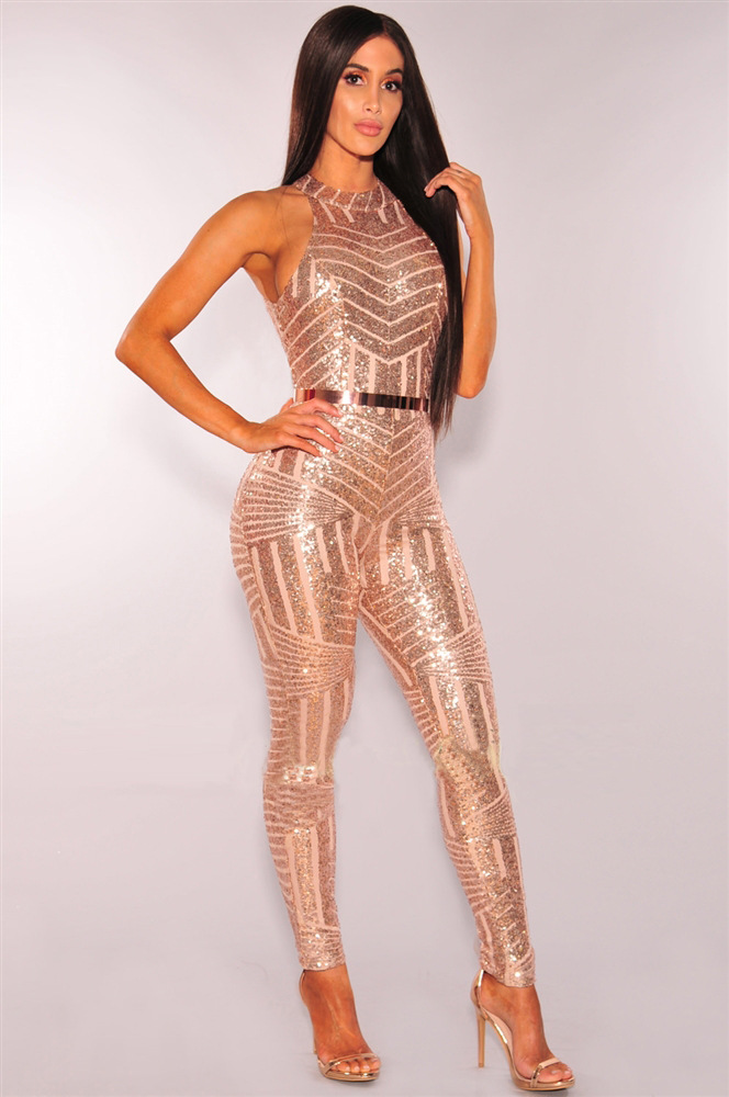 ML21757 Sexy Women O-neck Sleeveless Bodycon Sequined Jumpsuit