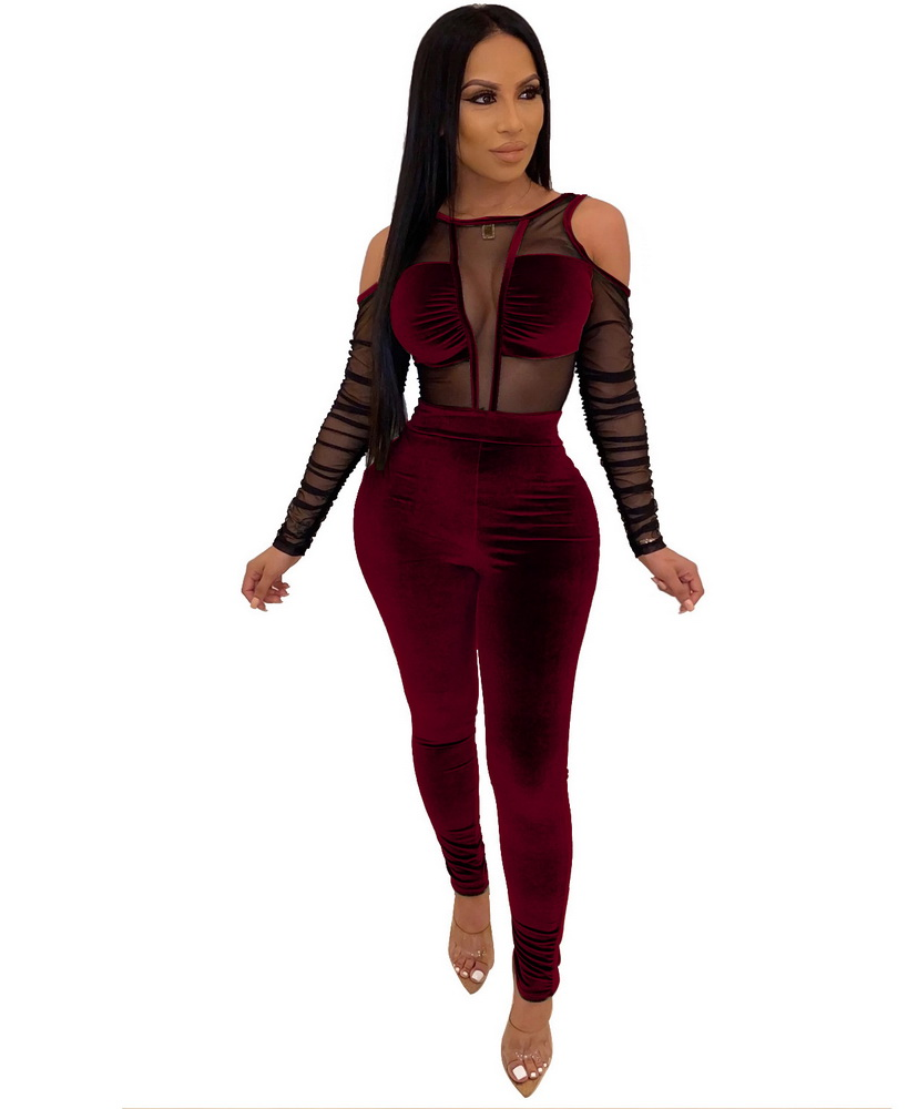 ML22040 Sexy Women O-neck Long Sleeve Bodycon Hollow Out Velvet Party Jumpsuit