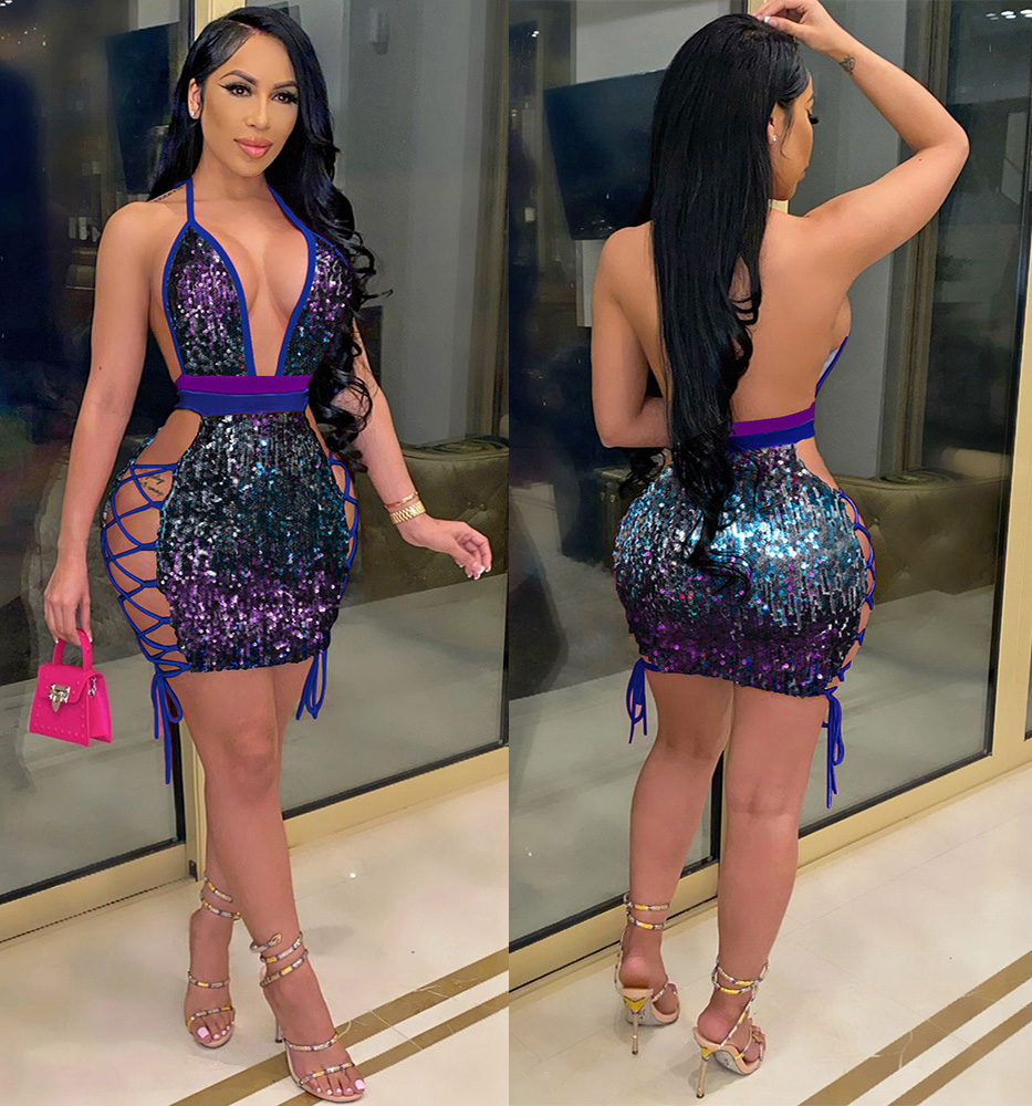 ML23011 Sexy Women V-neck Lace Up Bodycon Sequined Party Dress