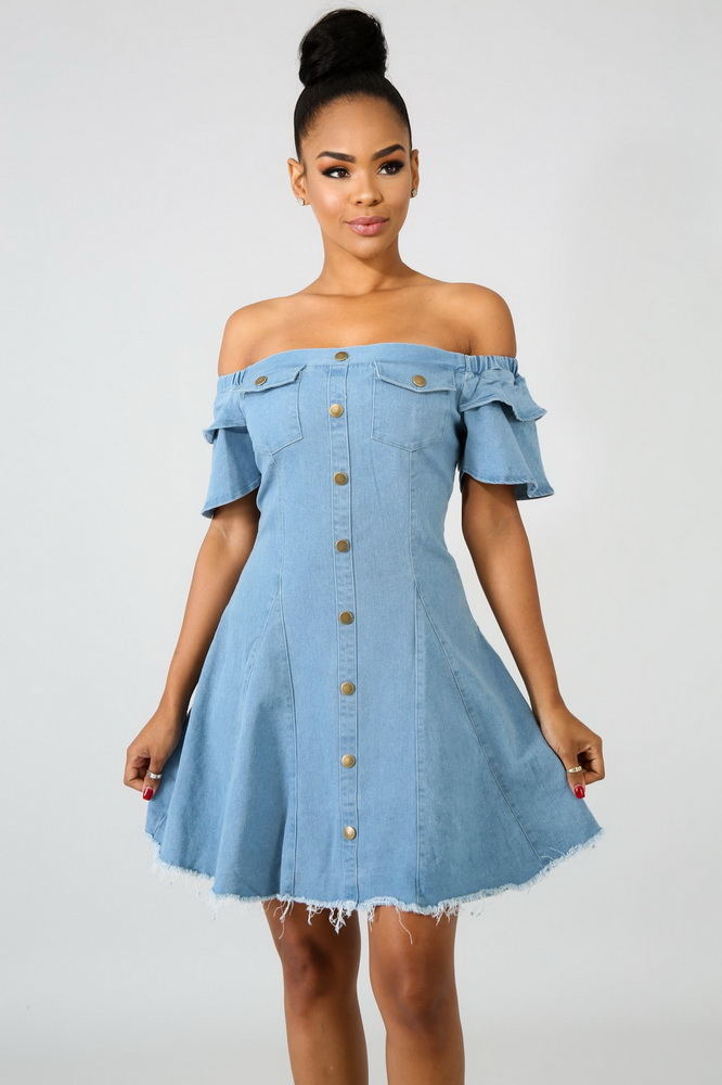 ML21177 Sexy Strapless Denim Skater Dress
