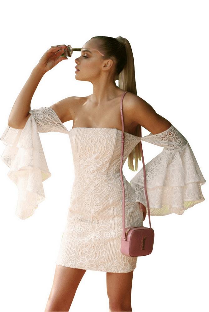 ML21357 Sexy Women Flare Sleeve Bodycon Autumn Lace Dress