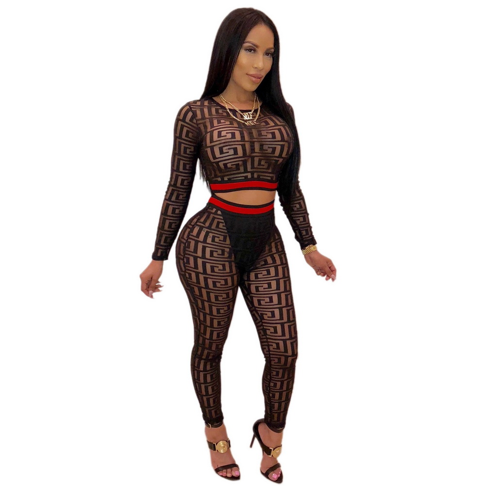 ML21264 Sexy Women Nightclub sets Including Mesh Tops+Trousers