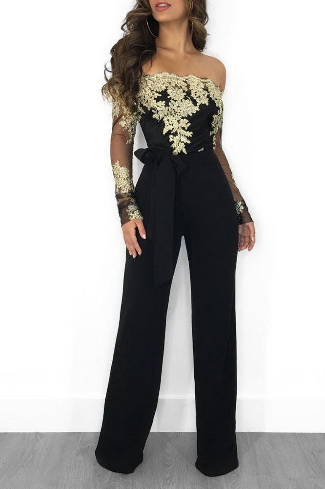 ML21333 Sexy Women Slash Neck Wide leg Straight Jumpsuit