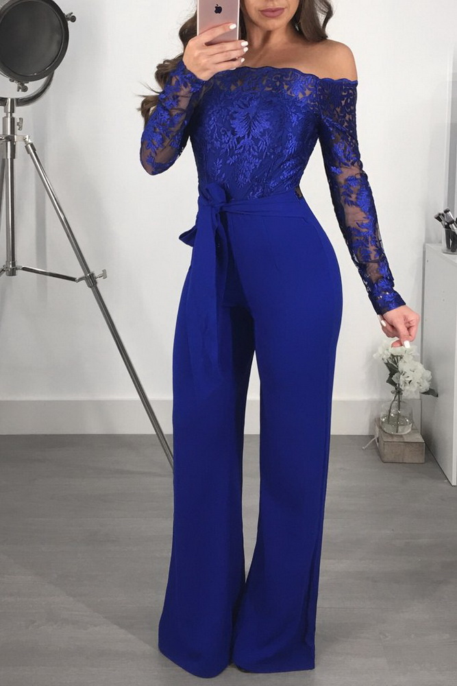 ML21356 Sexy Women Long Sleeve Slash Neck Straight Lace Jumpsuit