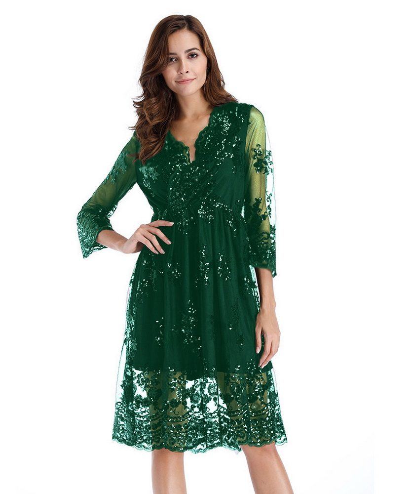 ML21358 Sexy Women Long Sleeve Sequined Casual Dress