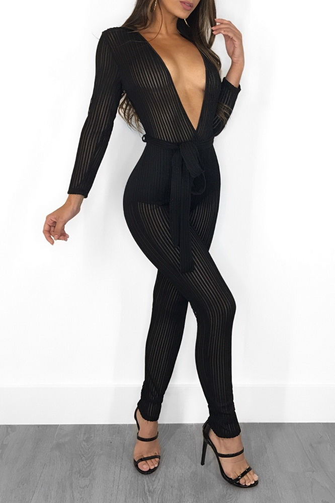 ML21447 Sexy Women Deep V-Neck Long Sleeve Mesh Bodycon Party Jumpsuit