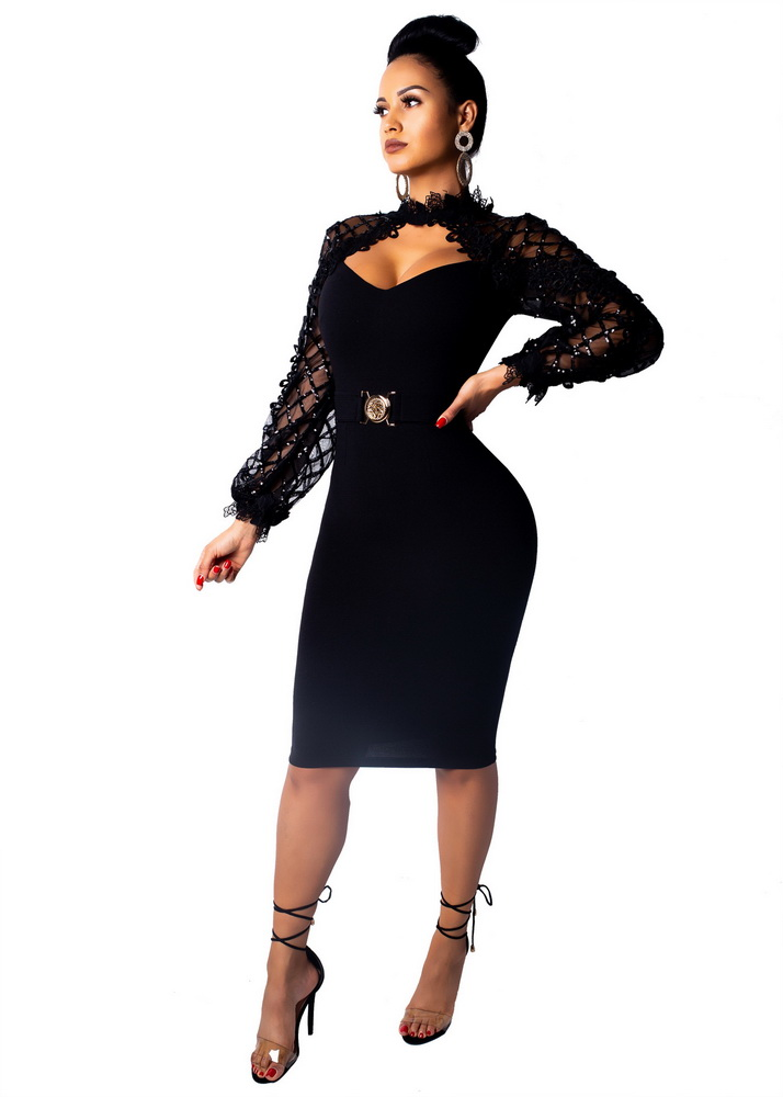 ML21521 Sexy Women O-neck Long Sleeve Bodycon Skater Dress