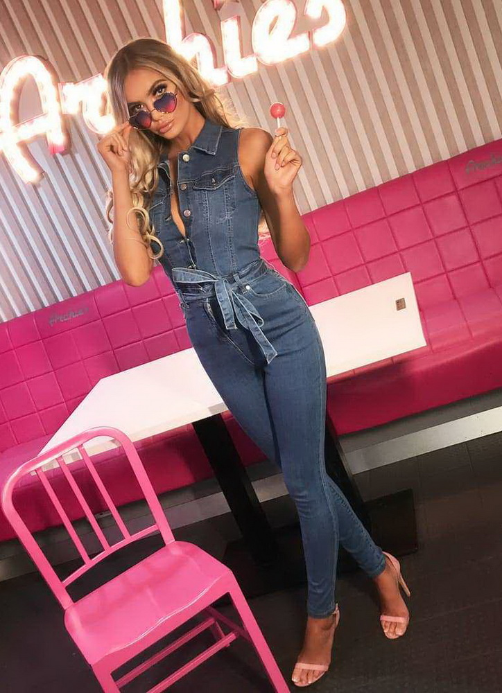 ML21879 Sexy Women Turn Down Collar Sleeveless Bodycon Denim Casual Jumpsuit