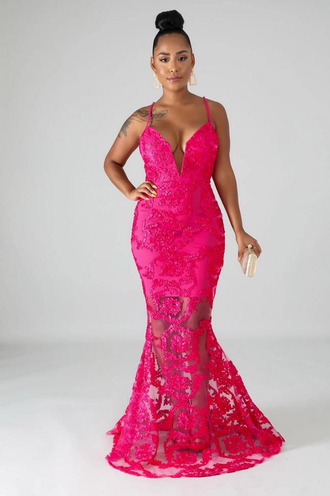 ML22006 Sexy Women Spaghetti Strap Bodycon Lace Long Party Dress