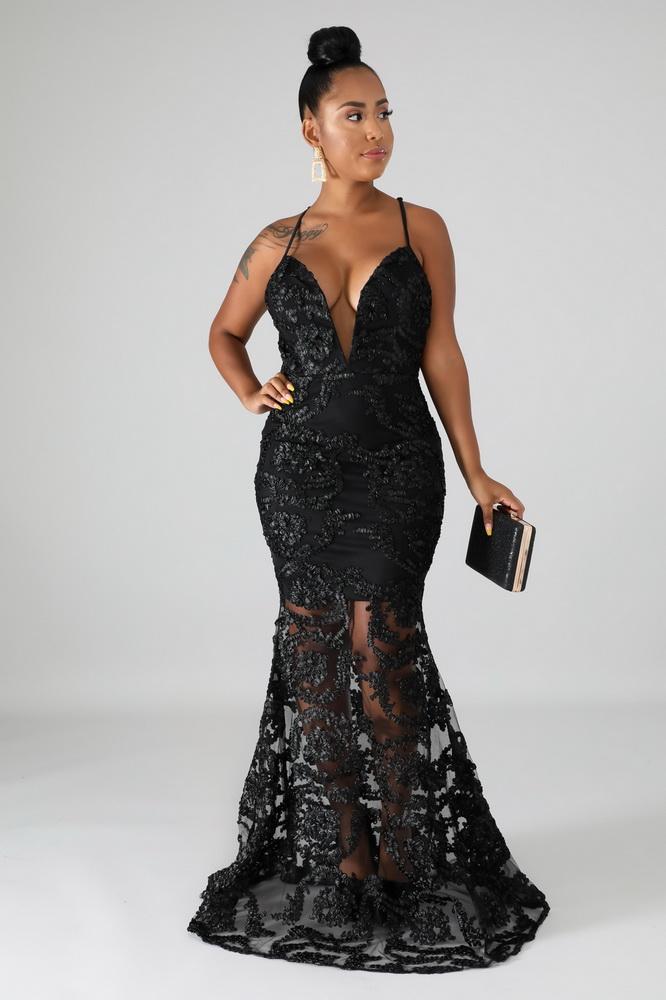 ML22003 Sexy Women Spaghetti Strap Bodycon Lace Long Party Dress