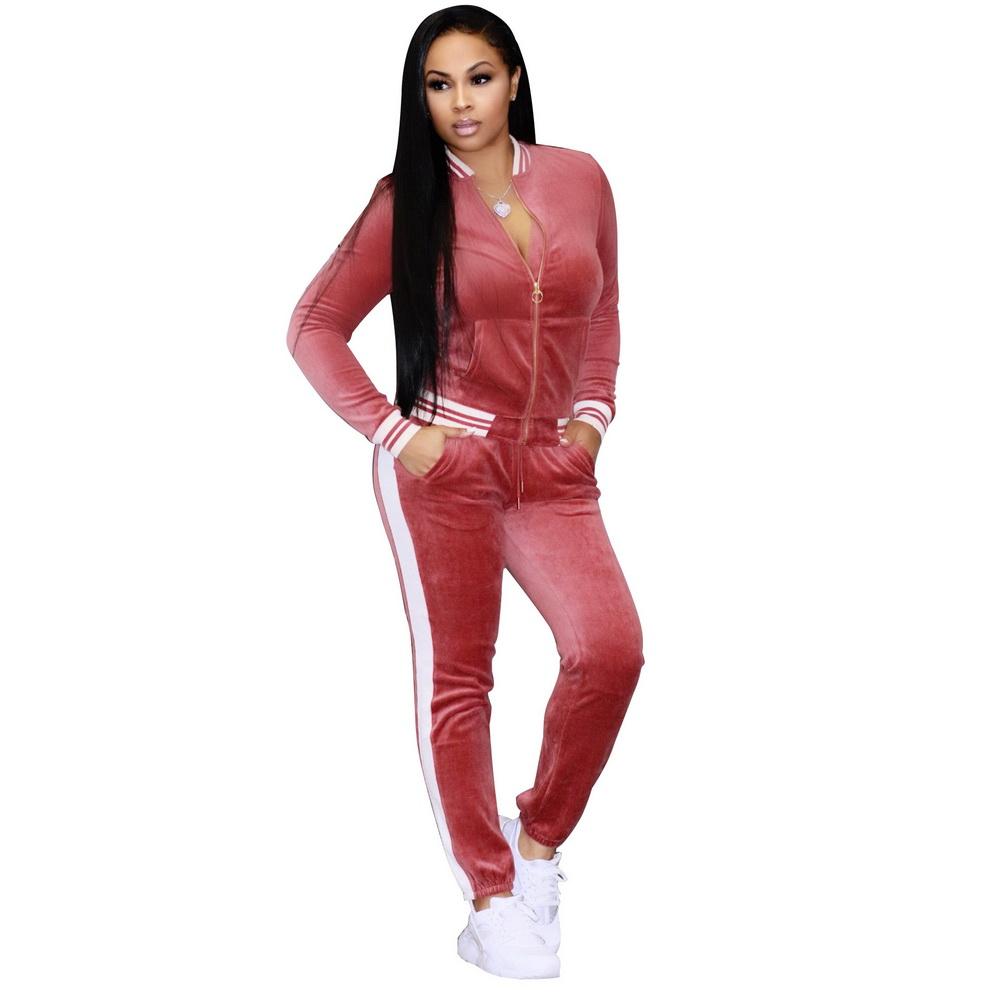 ML21299 Sexy Women 2 pieces Long Sleeve Velvet Tractsuit Set