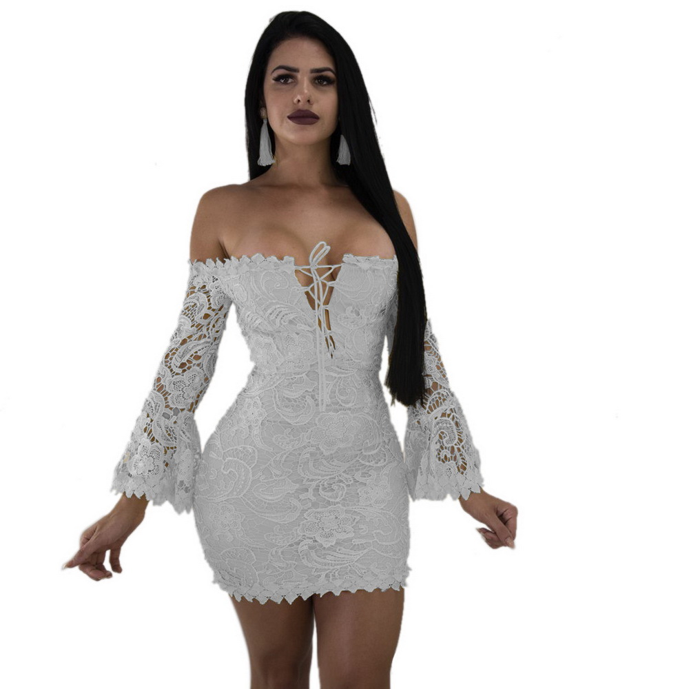 ML21179 Sexy Women Lace Skater Dress