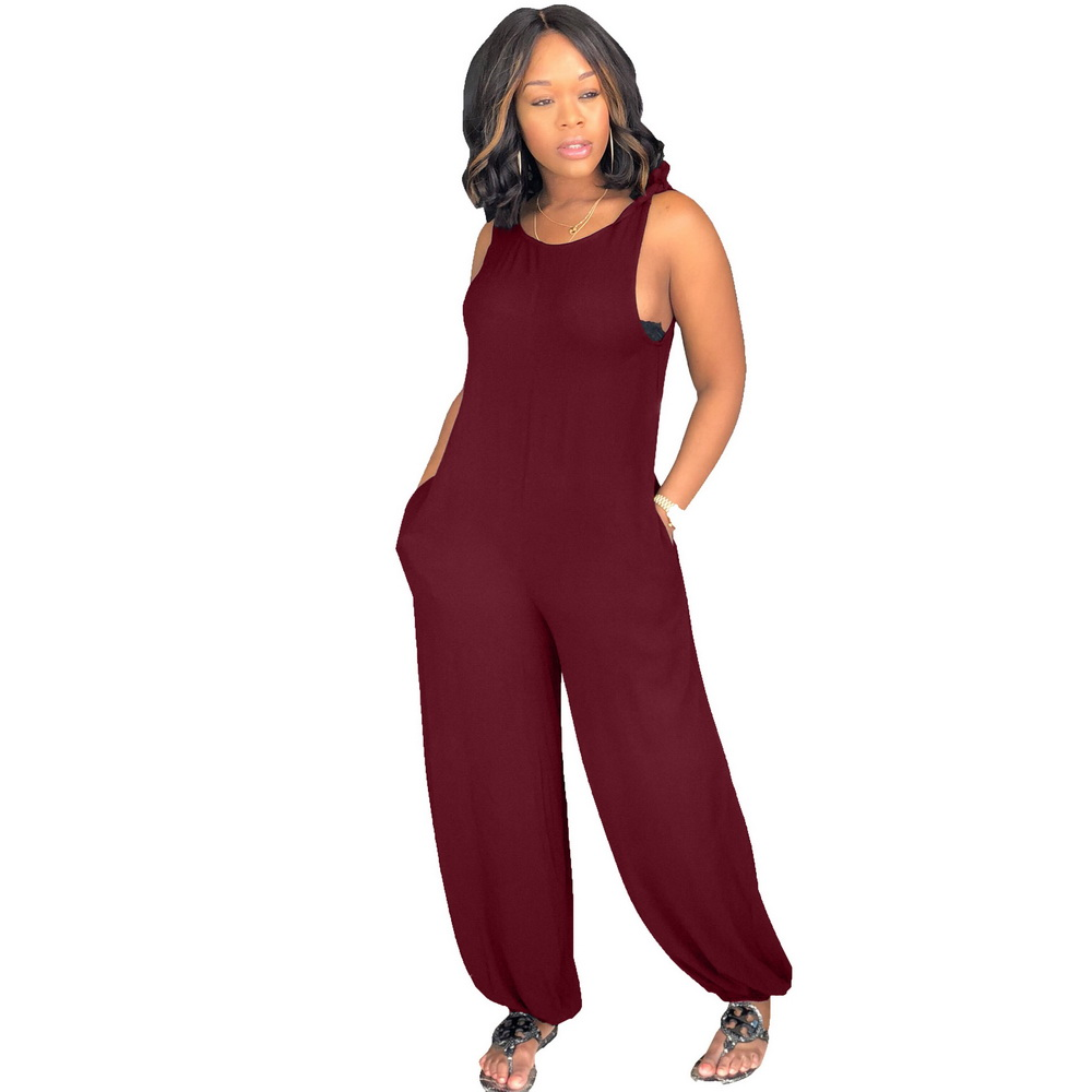 ML21183 Sexy Women Sleeveless Jumpsuits with Pocket