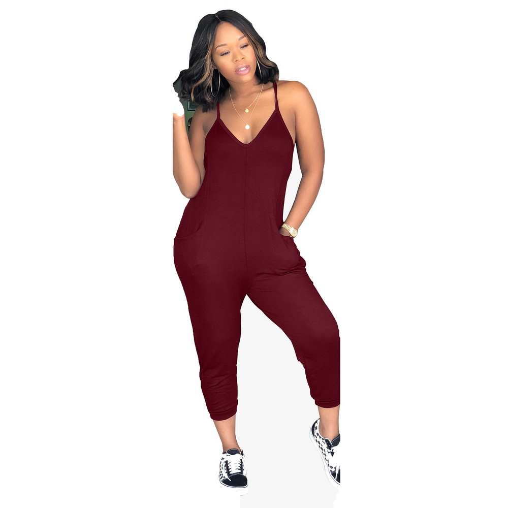 ML21185 Sexy Women Backless Jumpsuit with Pocket