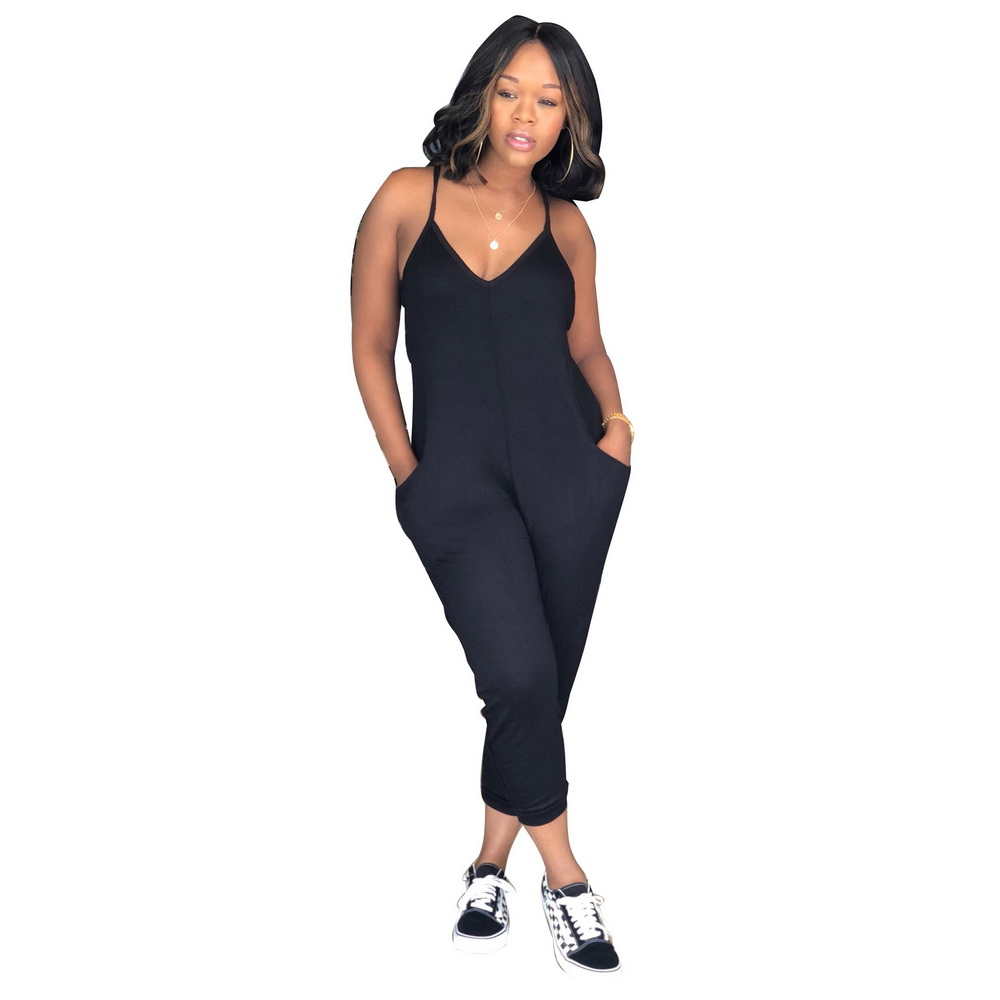 ML21186 Sexy Women Sleeveless Backless Jumpsuit with Pocket