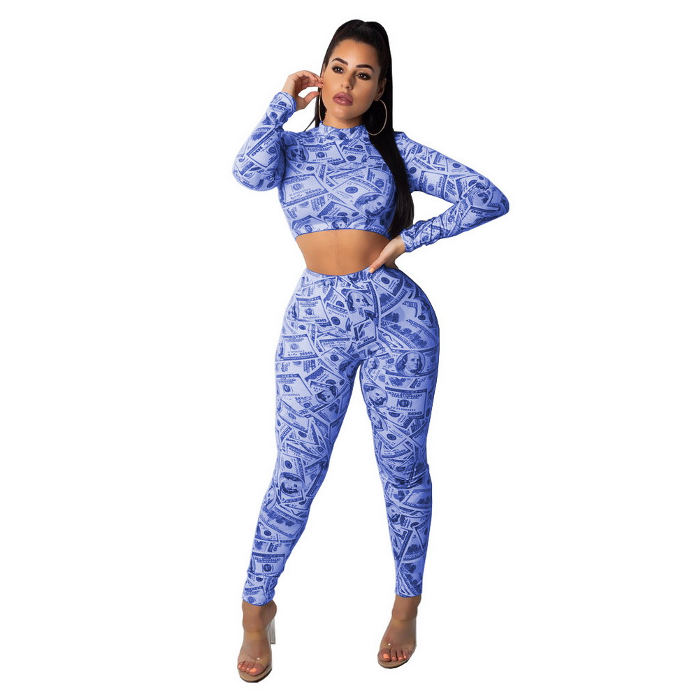 ML21343 Sexy Women U.S Dollar Printing Bodycon Tracksuit Sets