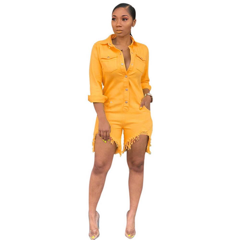 ML21773 Sexy Women Square Collar Elegant Denim Casual Playsuit Rompers