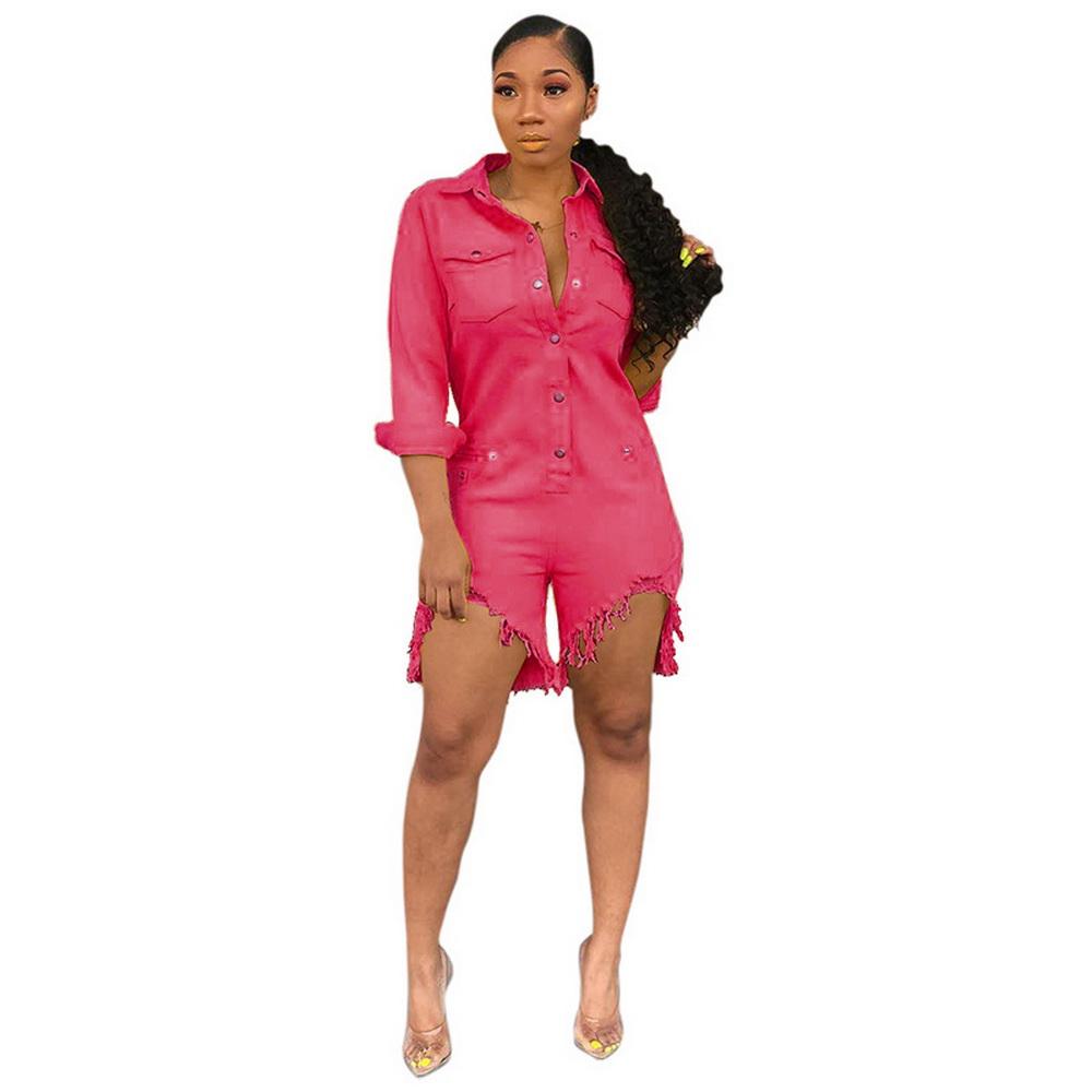 ML21774 Sexy Women Square Collar Elegant Denim Casual Playsuit Rompers