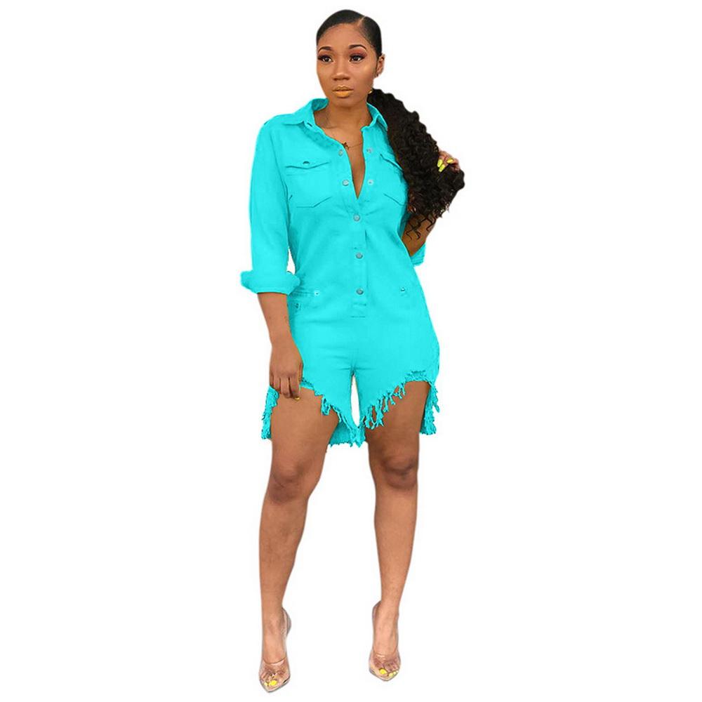 ML21775 Sexy Women Square Collar Elegant Denim Casual Playsuit Rompers