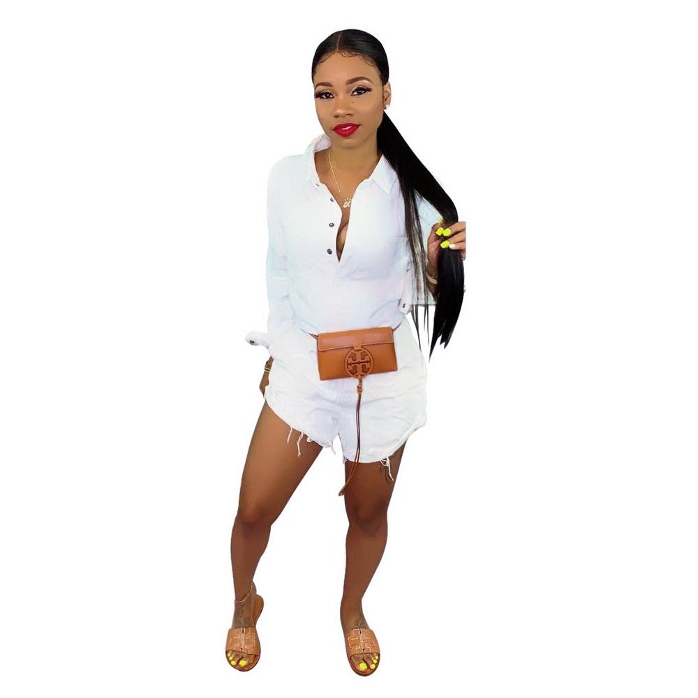 ML21776 Sexy Women Square Collar Elegant Denim Casual Playsuit Rompers