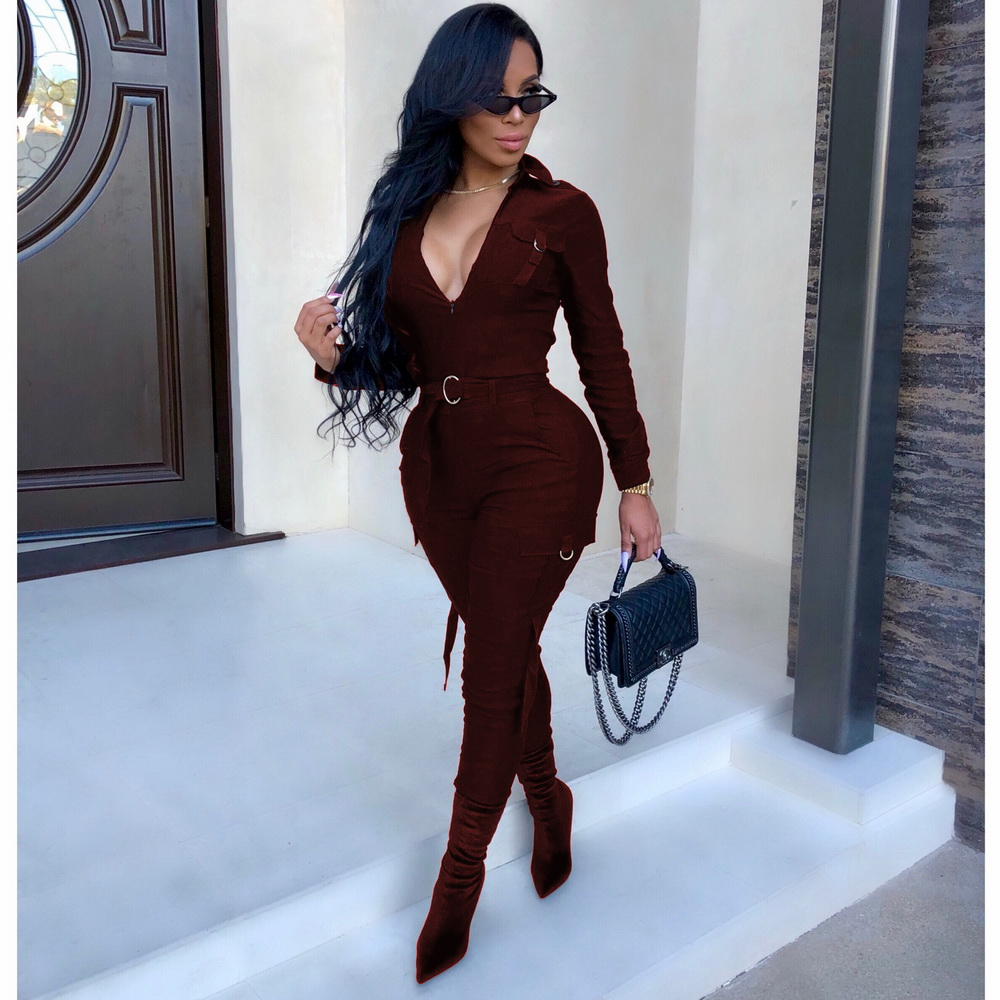ML21463 Sexy Women V-neck Bodycon Casual Jumpsuit
