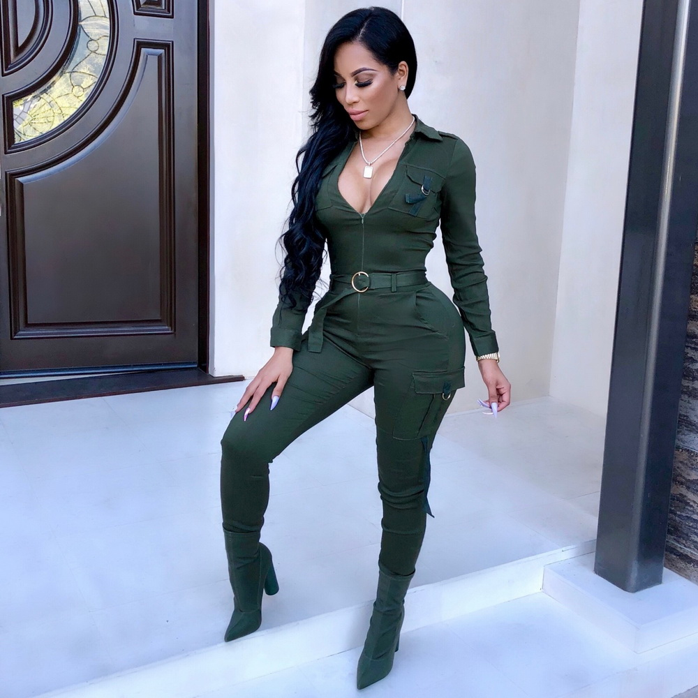 ML21464 Sexy Women V-neck Bodycon Casual Jumpsuit