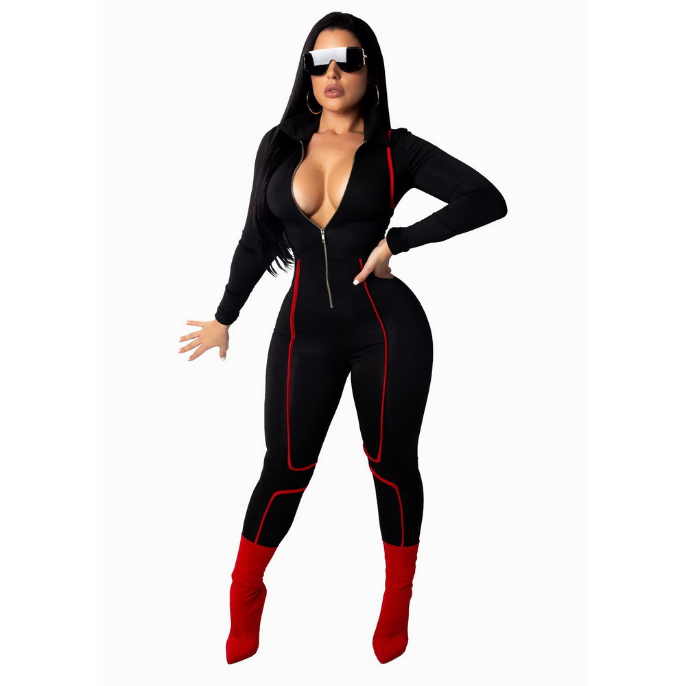 ML21468 Sexy Women One Piece Deep V-neck Long Sleeve Bodycon Club Jumpsuit