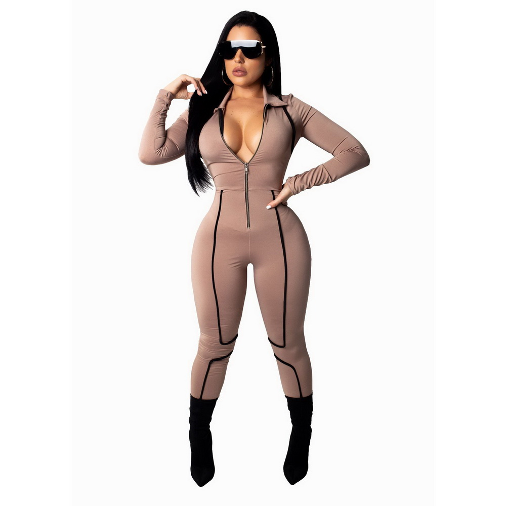 ML21469 Sexy Women One Piece Deep V-neck Long Sleeve Bodycon Club Jumpsuit