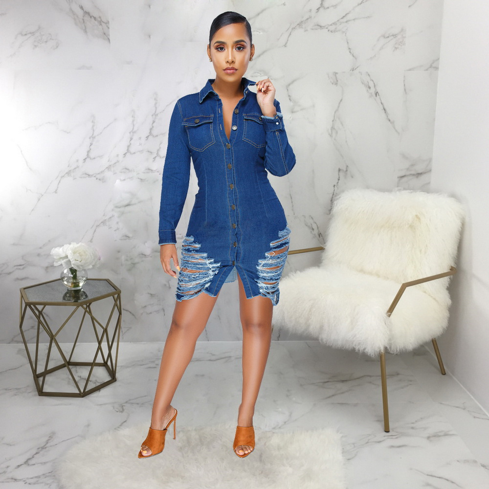 ML21537 Sexy Women Square Collar Long Sleeve Bodycon Denim Skater Dress