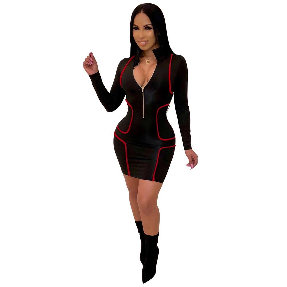 ML21534 Sexy Women Square Collar Long Sleeve Bodycon Skater Dress
