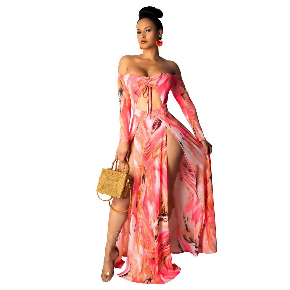 ML21624 Sexy Women Slash Neck Long Sleeve Elegant Floral Print Summer Dress