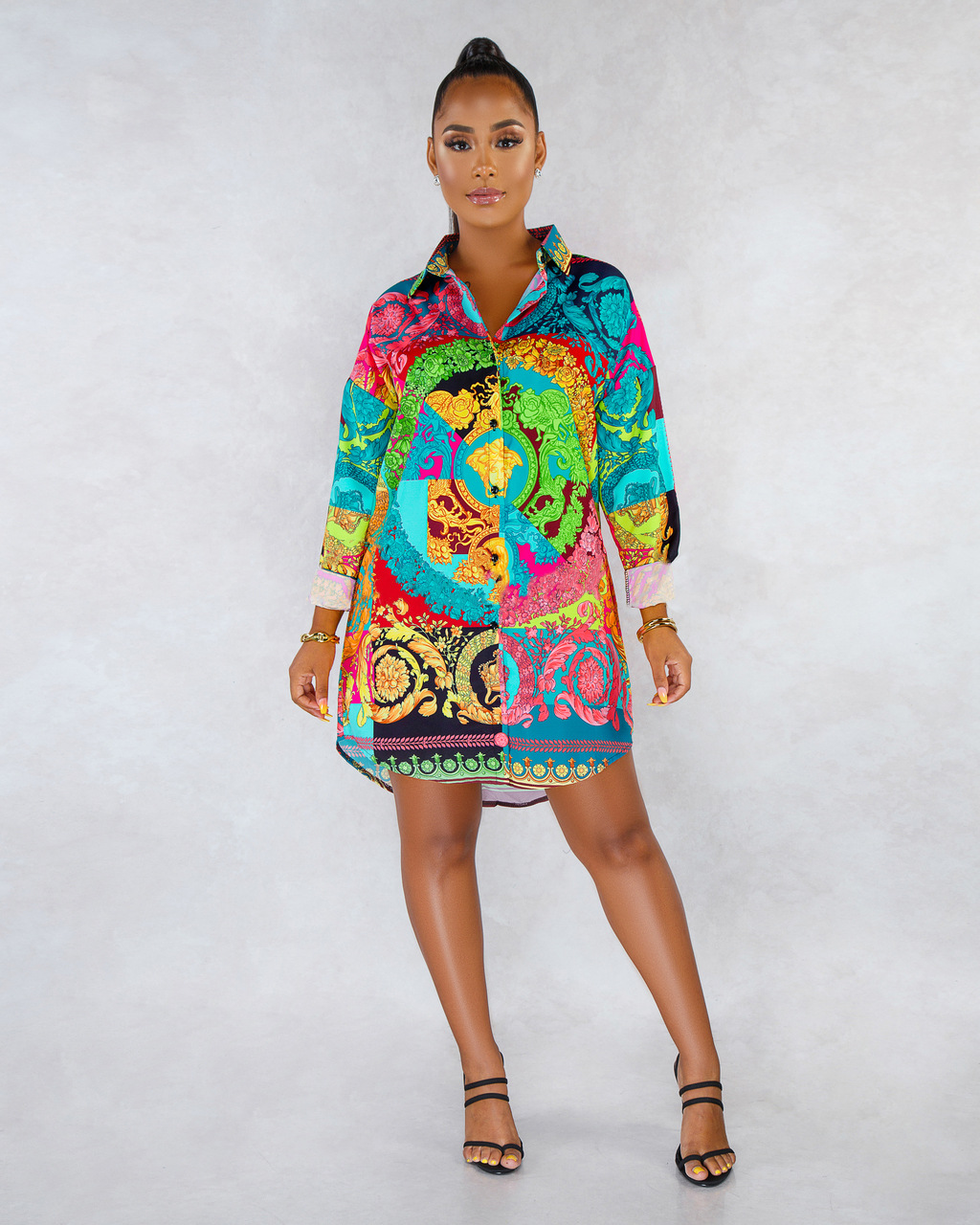 ML22156 Sexy Women Turn Down Collar Elegant Colorful Shirt Dress