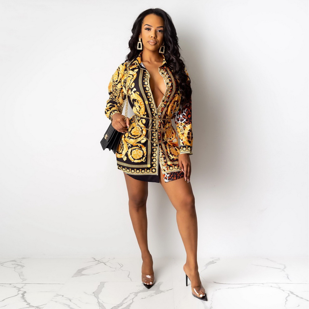 ML22160 Sexy Women Turn Down Collar Elegant Colorful Shirt Dress