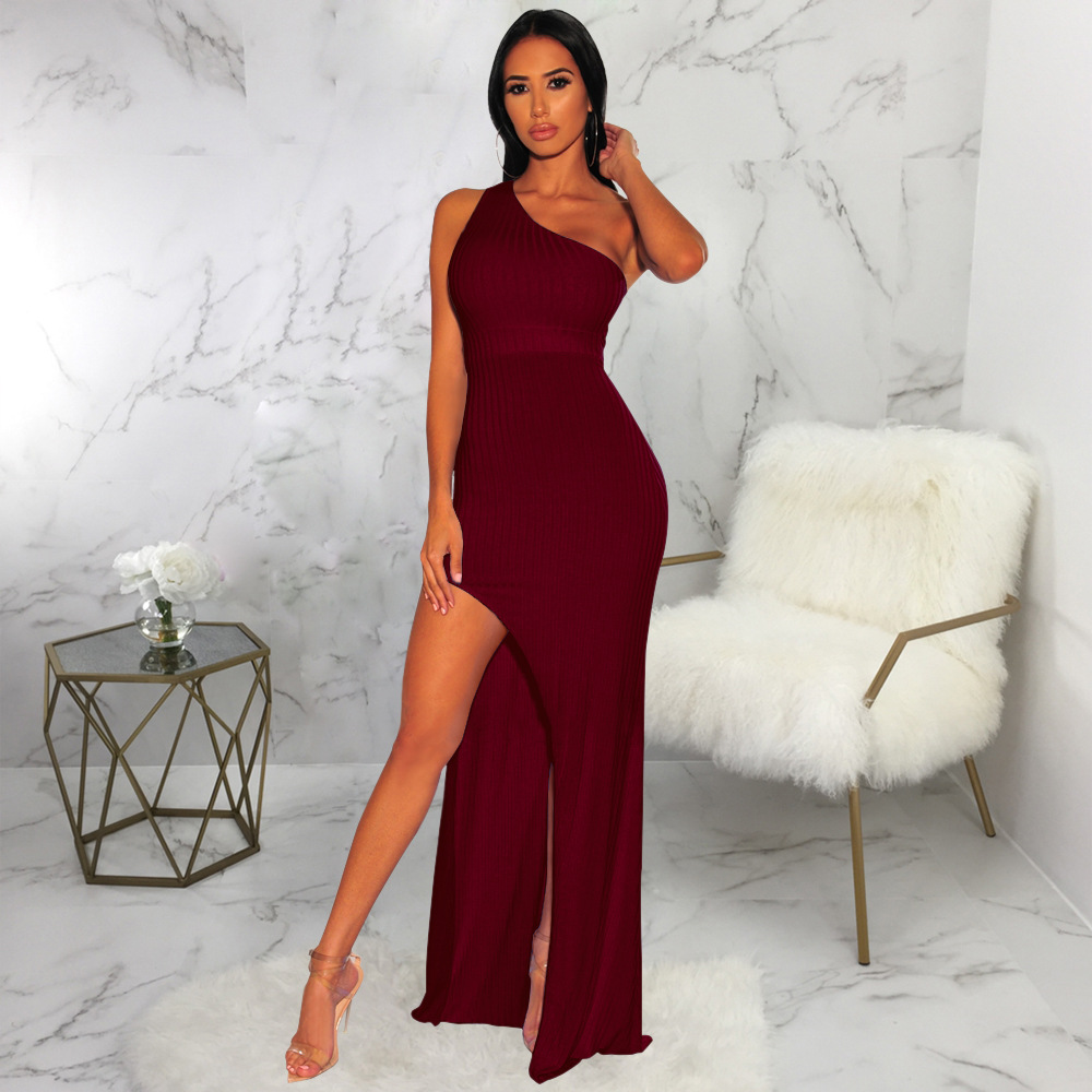 ML22258 Sexy Women One Shoulder Bodycon Long Party Dress