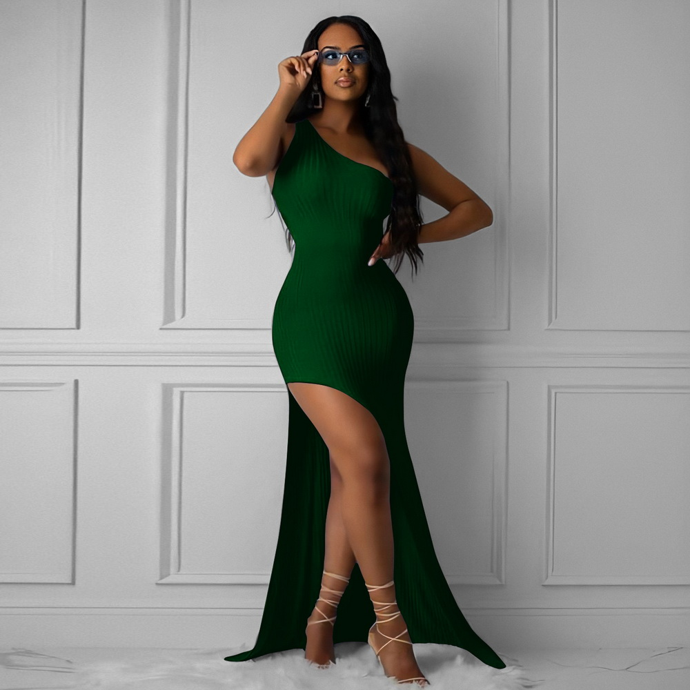 ML22257 Sexy Women One Shoulder Bodycon Long Party Dress
