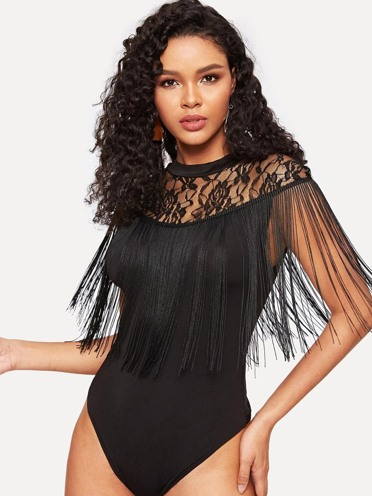 ML22886 Sexy Women O-neck Tassel Bodycon Lace Bodysuit