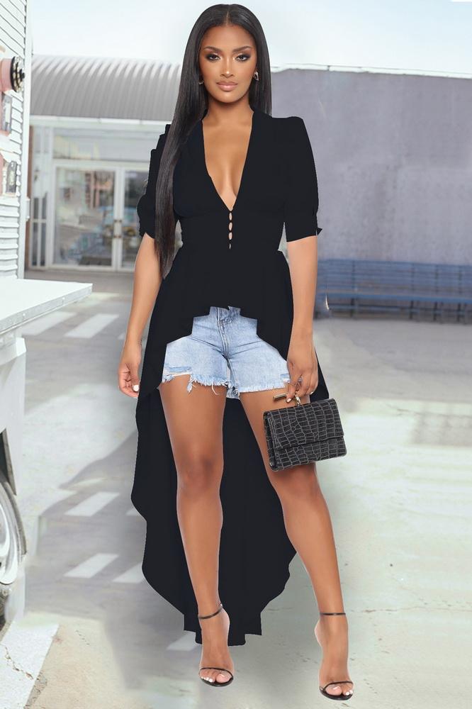 ML22513 Sexy Women V-neck Short Sleeve Elegant Asymmetrical Party Dress