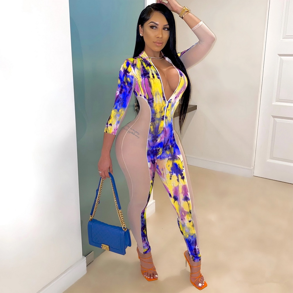 SK7929 Sexy Women O-neck Long Sleeve Bodycon Floral Print Patchwork Jumpsuit