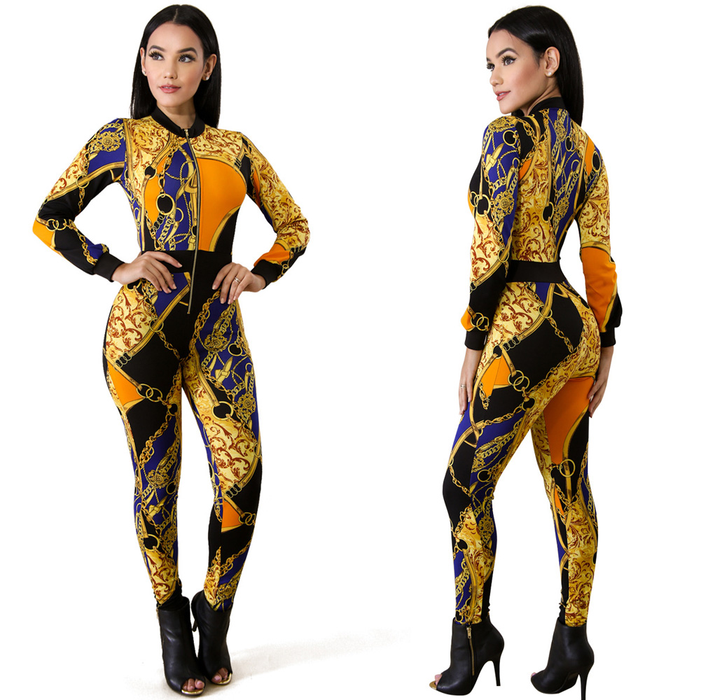 ML22885 Sexy Women O-neck Long Sleeve Bodycon Casual Jumpsuit