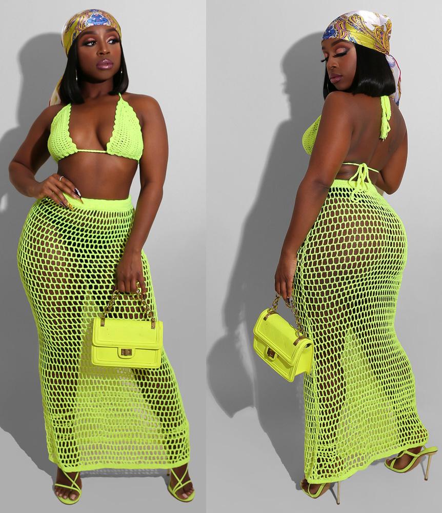 ML22976 Sexy Women Two Pieces Knitting Elegant Summer Dress Top+Skirt